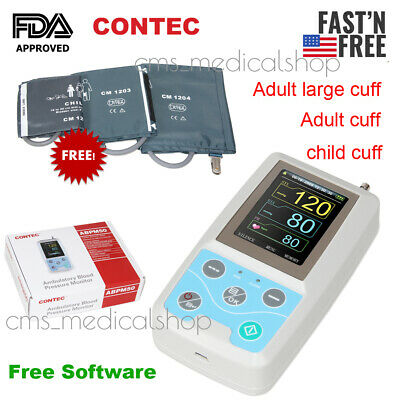 CONTEC NIBP Monitor 24hour Ambulatory Blood Pressure Monitor Holter+3 Pcs Cuffs
