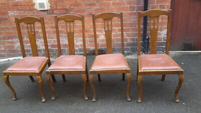 set of four original 1900s Arts & Crafts dining chairs