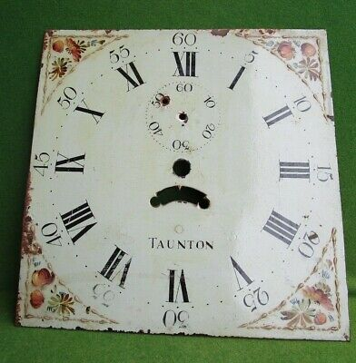 Antique Hand Painted Long Case Grandfather Clock Face...metal shabby chic