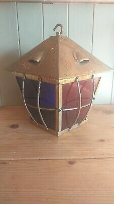 Arts & Crafts Hammered Brass.blue & Red Glass Hallway /Carriage Lantern Electric