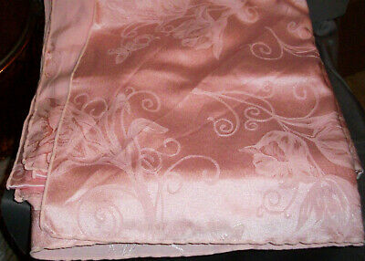 """Pink Damask Tablecloth, Flowers & Butterflies, 116"""" by 58"""""""