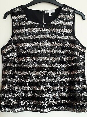 New..girls Black , Silver And Gold Sequined Top. Party/ Xmas.age 13-14.  Jr...