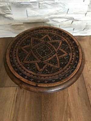 Vintage Antique Wooden Carved Stool