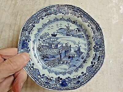 Antique CHINESE PORCELAIN Plate QING MING Blue White Temple Water Scene 18th C