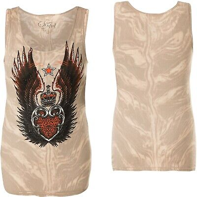 SINFUL BY AFFLICTION Sinful Damen Tank Top Fiona Pink//Gelb