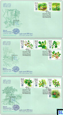Sri Lanka Stamps 2020, World Wetlands Day, Flowers, Ramsar, FDCs