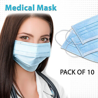 10 x Medical 3 PLY Surgical Face Mask Anti-Virus Flu Infection Protection