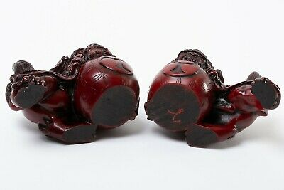 """Mirrored Pair of 2 Chinese Fu Foo Guard Dogs Red Resin 6"""" Long Asian Statues"""