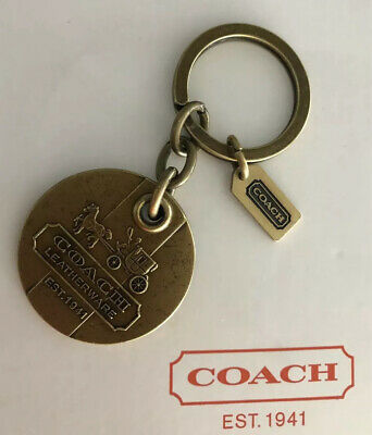 Coach Heritage Stripe Antique Brass Key Ring Chain Fob Purse Charm Hang Tag Rare