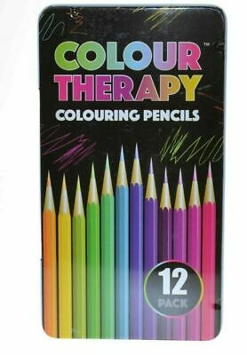 12 Colour Therapy Colouring Pencils - Professional Artist Metallic In Tin