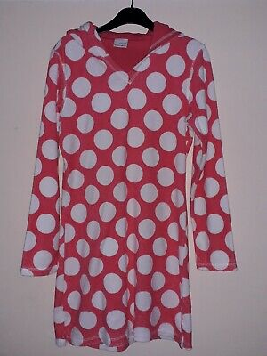 Girls Red Pink And White Spotty Towelling Beach Cover Up. Next. Age 12. Vgc.