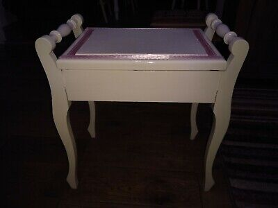 Restored Antique White Piano Stool With Storage