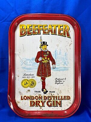 """BEEFEATER GIN TIP TRAY LONDON DISTILLED DRY 15.5""""x 11"""" METAL BAR TRAY"""
