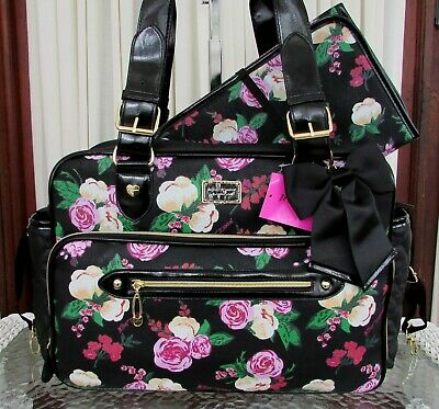 Betsey Johnson Diaper Bag Floral Tote Weekender Travel & Baby Changing Pad NWT