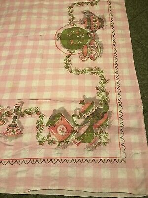 VTG PINK Gingham Plaid Cotton Tablecloth 48 x 60 Not Perfect- Great for Crafting
