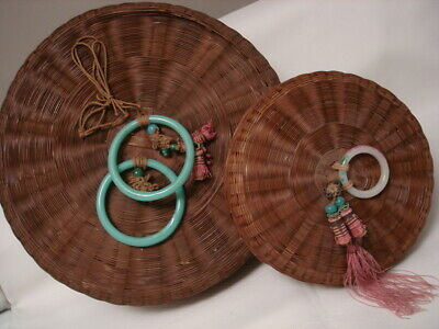 2 Round Woven Wicker Sewing Baskets Beads Tassels Asian Trim Chinese