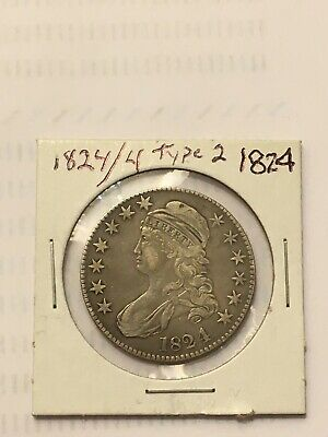 1824/4 Capped Bust Half Dollar Type 2 Silver XF AU- AU Details Lettered Edge