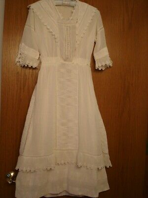 ANTIQUE VICTORIAN DRESS ivory BEAUTIFULLY HAND MADE LINED GARDEN /WEDDING?
