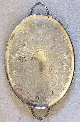 Pepper & Hope Silver Plated Tray Made In England Ball And Claw Foot Antique