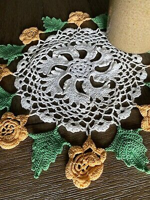 Vintage Handmade White, Peach, Green Floral Cotton Crocheted Lace Doily