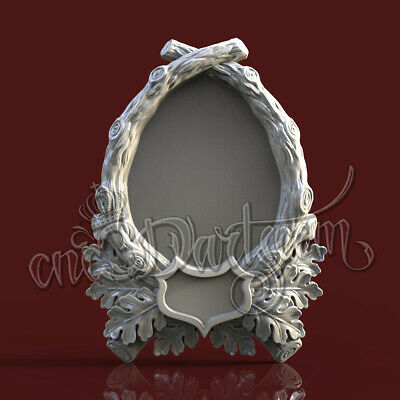 3D Model STL 4 CNC Router Artcam Aspire Hunting OAK Trophies Frame Cut3D Vcarve
