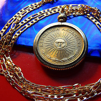 "ARGENTINIA RADIANT SOL, Sun Coin Pendant on a 24"" Gold Filled Figaro Chain"