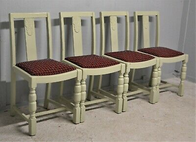 4 Vintage Dining Chairs Painted Duck egg Green Oak Framed Delivery Available