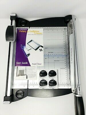 Purple Cows 2 in 1 Rotary Guillotine Trimmer with Blades & Storage Tray