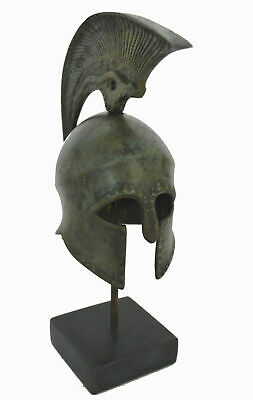 Corinthian Bronze small Helmet on Marble Base with Snake Design - Made in Greece