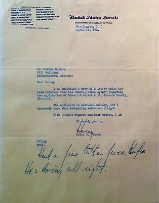 Harry Truman Authentic Signature w/ Letter to brother of Personal Attorney.