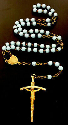 Vintage Baby Blue Glass Rosary, Gold Tone Sacred Heart Of Jesus Center, Crucifix