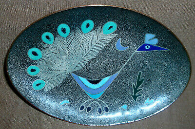 Miguel Pineda Tray Famous Mexican Artist MCM Enamel on Copper Peacock Ex Cond