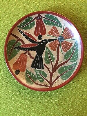 Costa Rican Clay Pottery Decorative Wall Plate Hummingbird Flowers & Vines