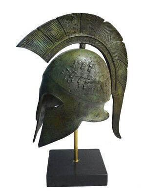 Greek Spartan Corinthian Helmet With Chariot on Marble base Museum Reproduction