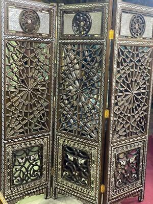 Carving Wood Room Divider Screen Inlaid Mother of Pearl