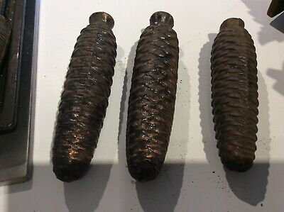 3 Cast iron Large Pine Cone Cuckoo Clock weights Vintage 7-8 in .