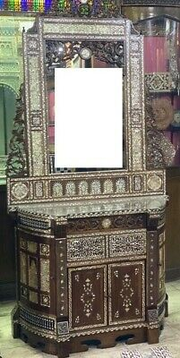 Antique Carving Walnut Wood Sideboard with Mirror Inlaid Mother of Pearl