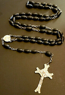 Vintage  5 Decade Black Wood Rosary , Sacred Heart Silver Tone Center, Crucifix