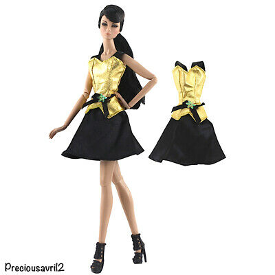 New Barbie doll clothes outfit evening party dress gown gold & black party dress