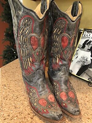 Sz 9 1/2 Corral Cowboy Leather Boots Antique Saddle Heart Angel Wings Excellent