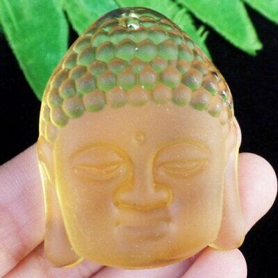 Carved Yellow Crystal Buddha Head Pendant Bead 47x38x14mm L94853