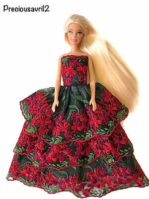 New Barbie doll clothes outfit princess wedding dress gown floral