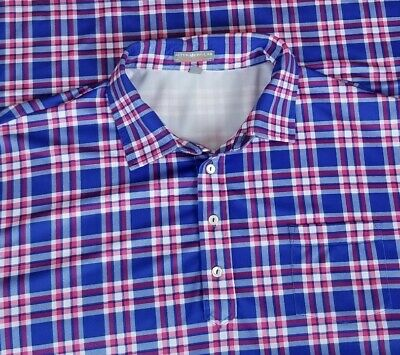 Peter Millar Men's Summer Comfort Polo Shirt Sz XXL Blue Plaid