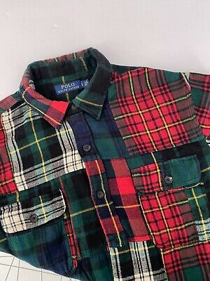 Polo Ralph Lauren Shirt L Patchwork Plaid Cotton Flannel Green Red Navy $228