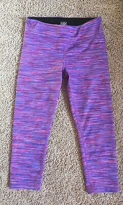 Athleta Girl Chit Chat Capri L/12 Purple Spacedye Stripe Legging Pant Crop