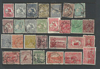3 Pages of Predecimal Australian used Stamps