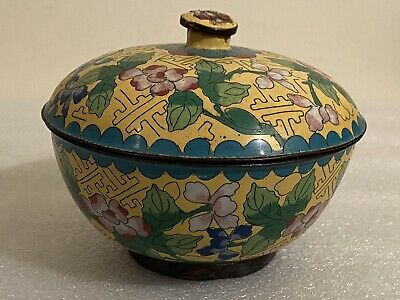 Antique Chinese Cloisonne Covered Bowl, Box, Jar Floral Yellow Blue Lid Marked