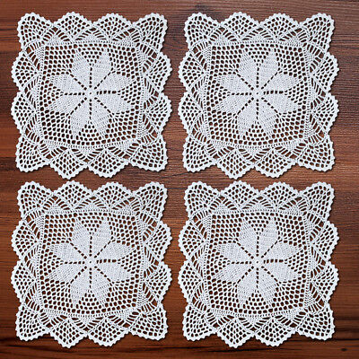 4Pcs/Lot White Vintage Hand Crochet Lace Doilies Square Placemats Wedding 12inch