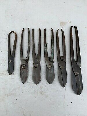 Lot Of 6 Vintage Tin Snips; Old Tool; Collectable; Gilbow; Parex; Ramsbottom