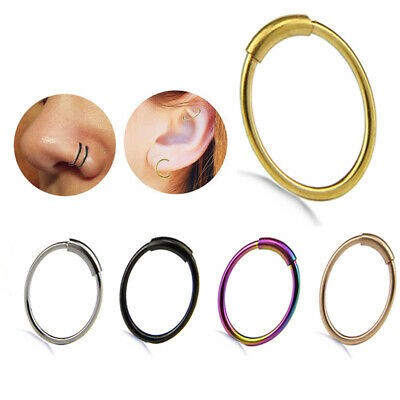 5PCS/Set Nose Ring Septum Ring Hoop Cartilage Tragus Helix Small Piercing St_ex
